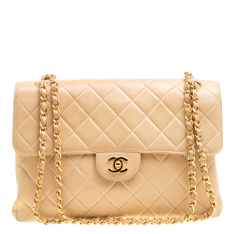 6c0117031e23 Buy Chanel Beige Quilted Leather Jumbo Vintage Double Side Flap ...