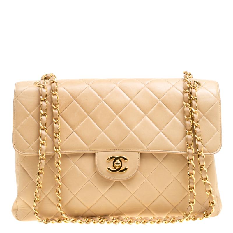 d4775e4432f130 ... Chanel Beige Quilted Leather Jumbo Vintage Double Side Flap Shoulder Bag.  nextprev. prevnext