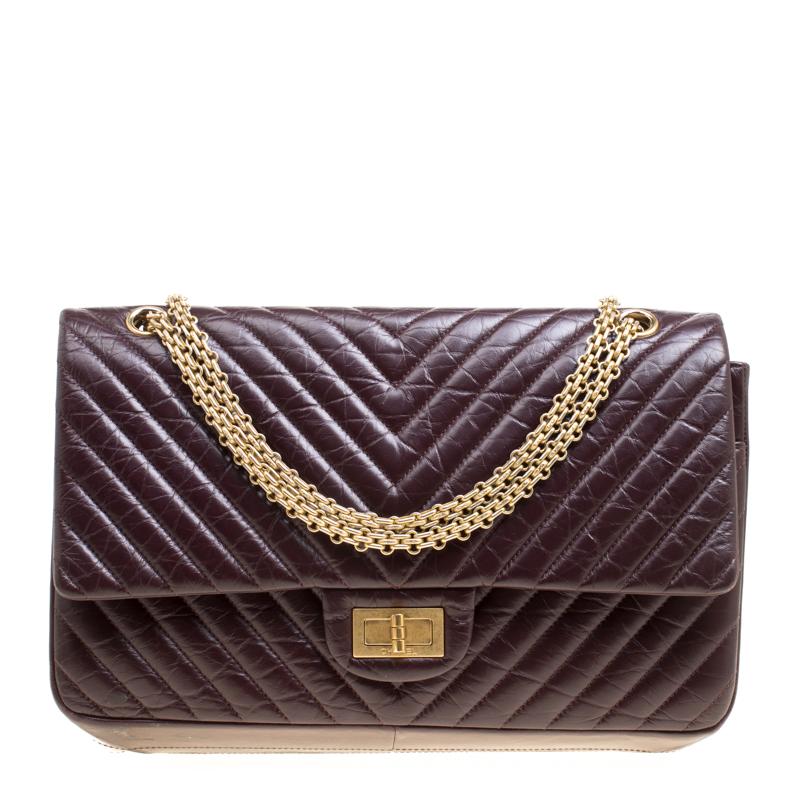 318ef3e23921 Buy Chanel Burgundy Chevron Quilted Leather Reissue 2.55 Classic 227 ...