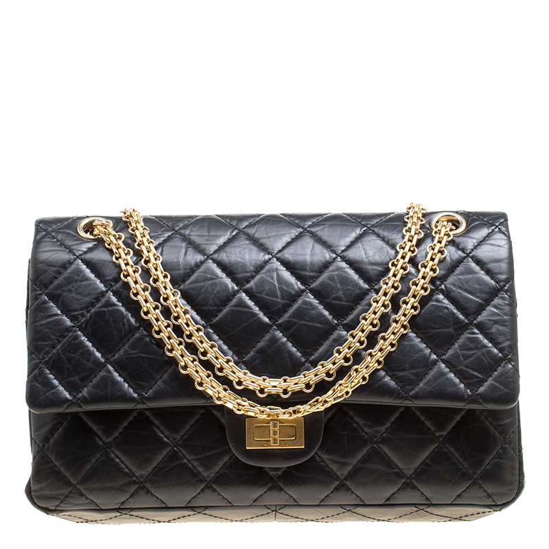 Buy Chanel Black Quilted Leather Reissue 2.55 Classic 226 Flap Bag ... 6d4e862615