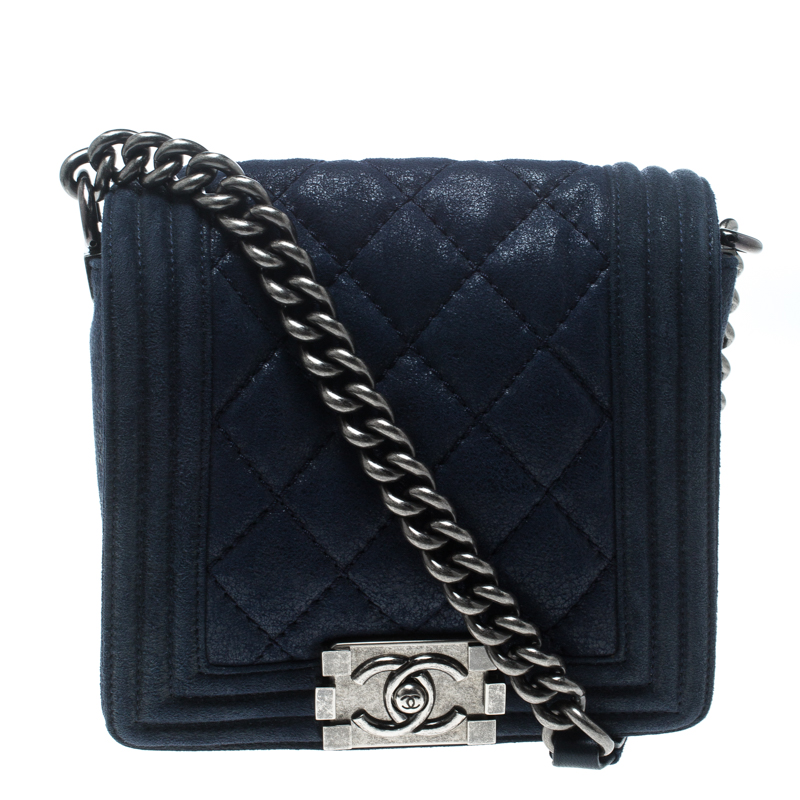 Buy Chanel Blue Iridescent Suede Small Gentle Square Boy