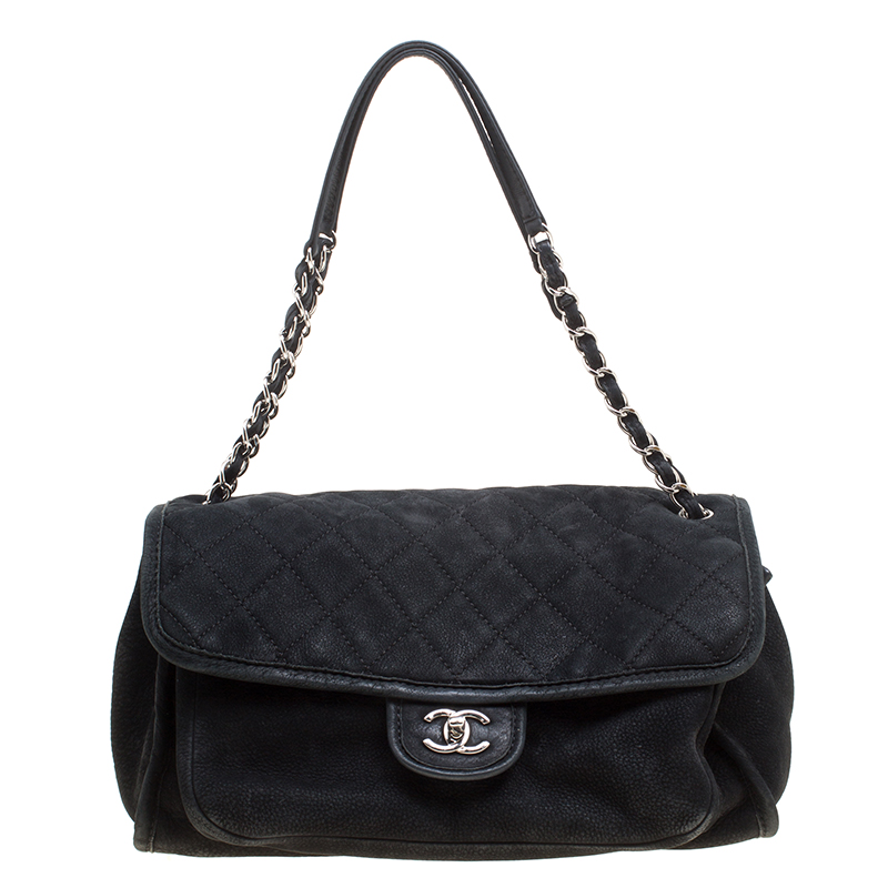 b370ea96273b Buy Chanel Black Nubuck Leather Natural Beauty Flap Bag 155727 at best  price | TLC