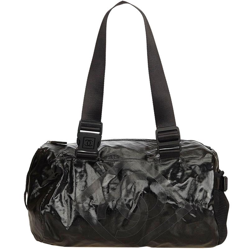 Chanel Black Coated Canvas Sport Line Shoulder Bag