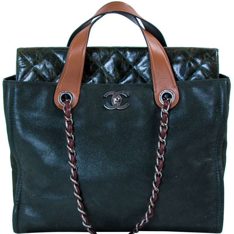 be91093b105b Buy Chanel Dark Green Iridescent Suede Glazed Leather In-the-Mix ...