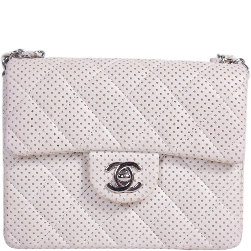 Buy Chanel White Quilted Perforated Leather Mini Classic Flap Bag ... 72700ce144