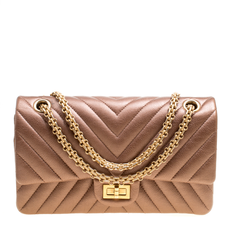 ac95c90964b2 ... Chanel Metallic Brown Quilted Leather Reissue 2.55 Classic 225 Flap Bag.  nextprev. prevnext