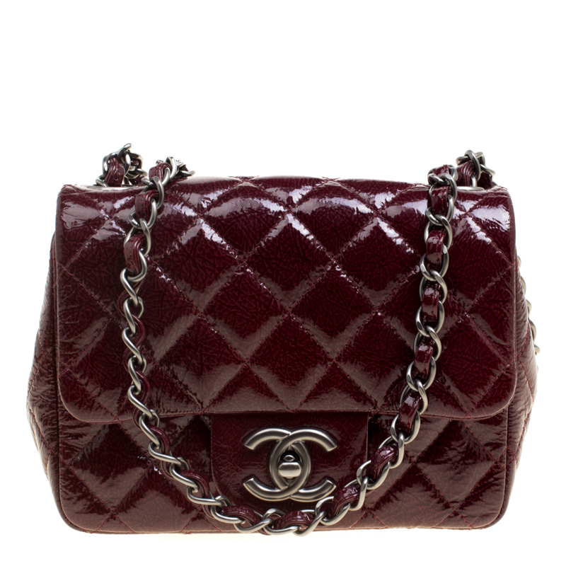 cbba4281ee51 Buy Chanel Burgundy Patent Textured Leather New Mini Classic Single ...