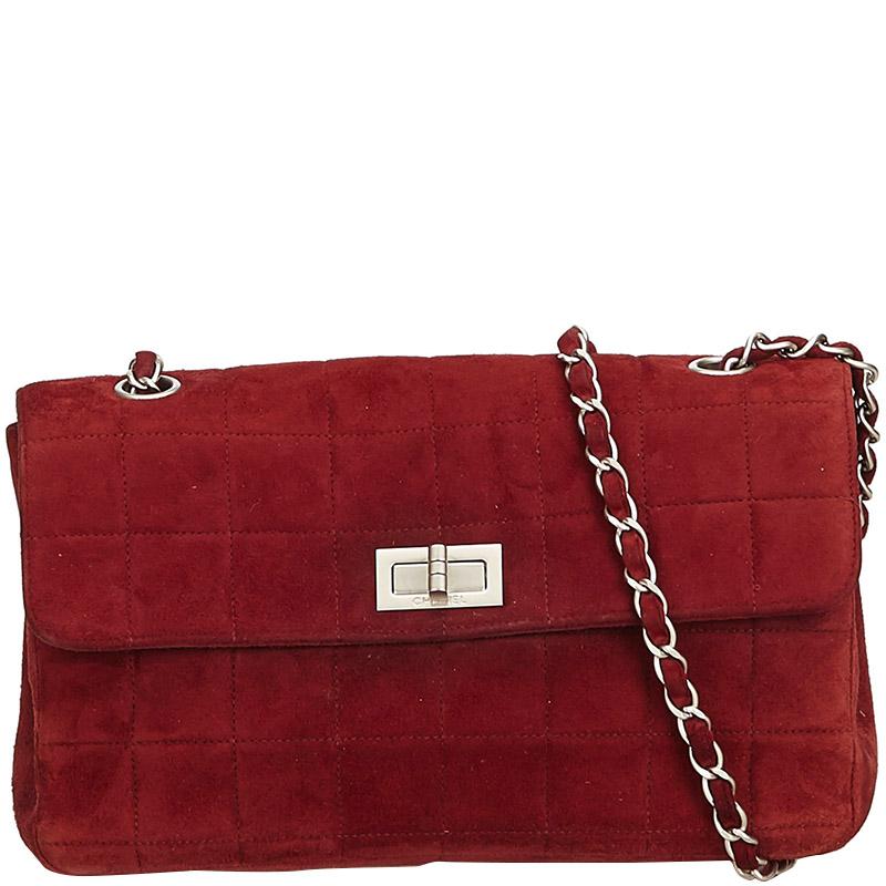e0c753871 Buy Chanel Bordeaux Suede Leather Choco Bar Reissue Flap Shoulder ...