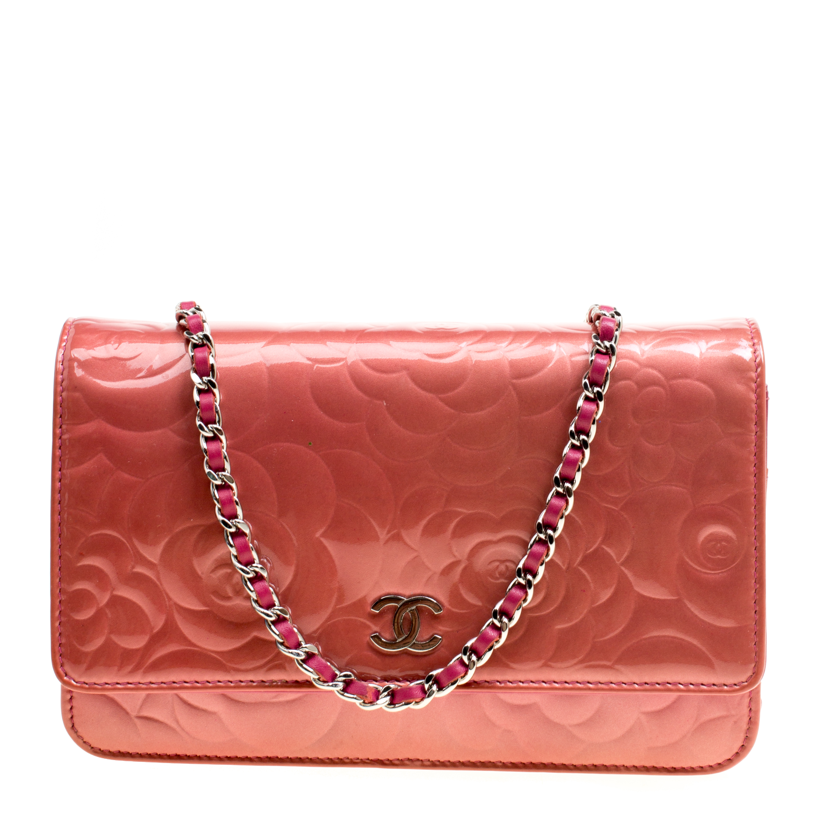 ... Chanel Rose Patent Leather Camellia Wallet on Chain. nextprev. prevnext 5ae9c46aa56f7