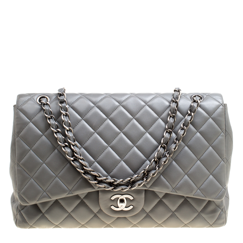 e3a6c3436041 ... Chanel Grey Quilted Leather Maxi Classic Single Flap Bag. nextprev.  prevnext