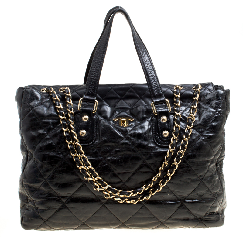 1d4362a90f46 Buy Chanel Black Quilted Glazed Leather Portobello Tote 163393 at ...