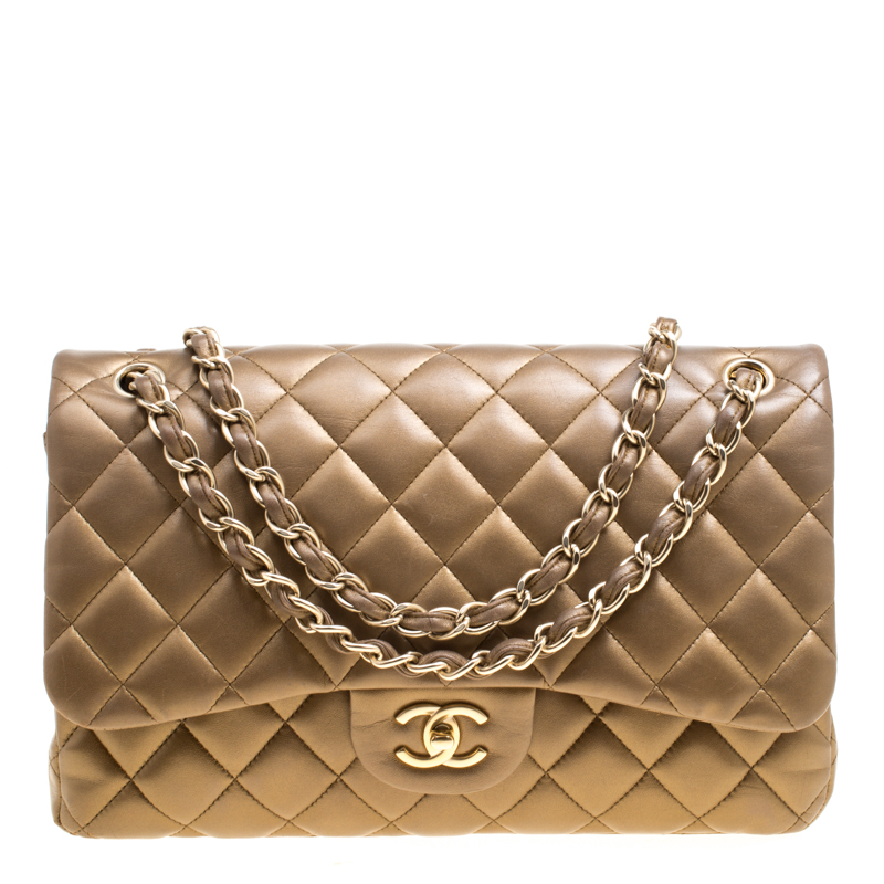 7060517fc2bff7 ... Chanel Bronze Quilted Leather Jumbo Classic Double Flap Bag. nextprev.  prevnext
