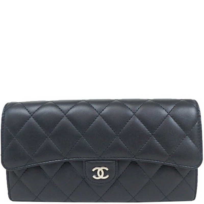20183bf062d9 Chanel Black Quilted Leather Flap Wallet 164788 At Best Tlc
