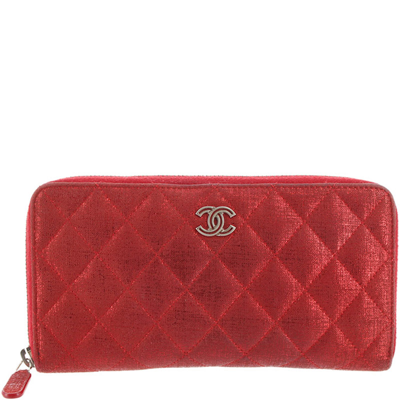 c849c72c632569 Chanel Red Metallic Quilted Canvas Zip Wallet 165301 At Best. Authentic Chanel  Black Caviar Quilted Leather Zip Around ...