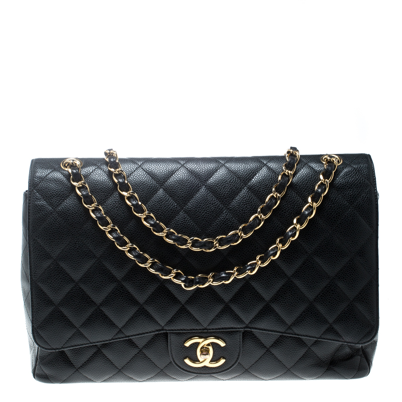 ... Chanel Black Quilted Caviar Leather Maxi Classic Double Flap Bag.  nextprev. prevnext a84a23f91c