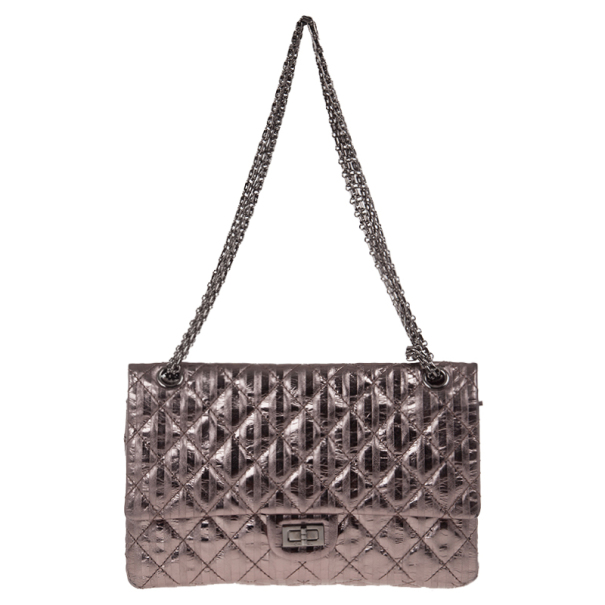 13991fe971a9e4 Buy Chanel Metallic Silver Leather 2.55 Reissue Quilted Classic 226 Flap Bag  16708 at best price | TLC