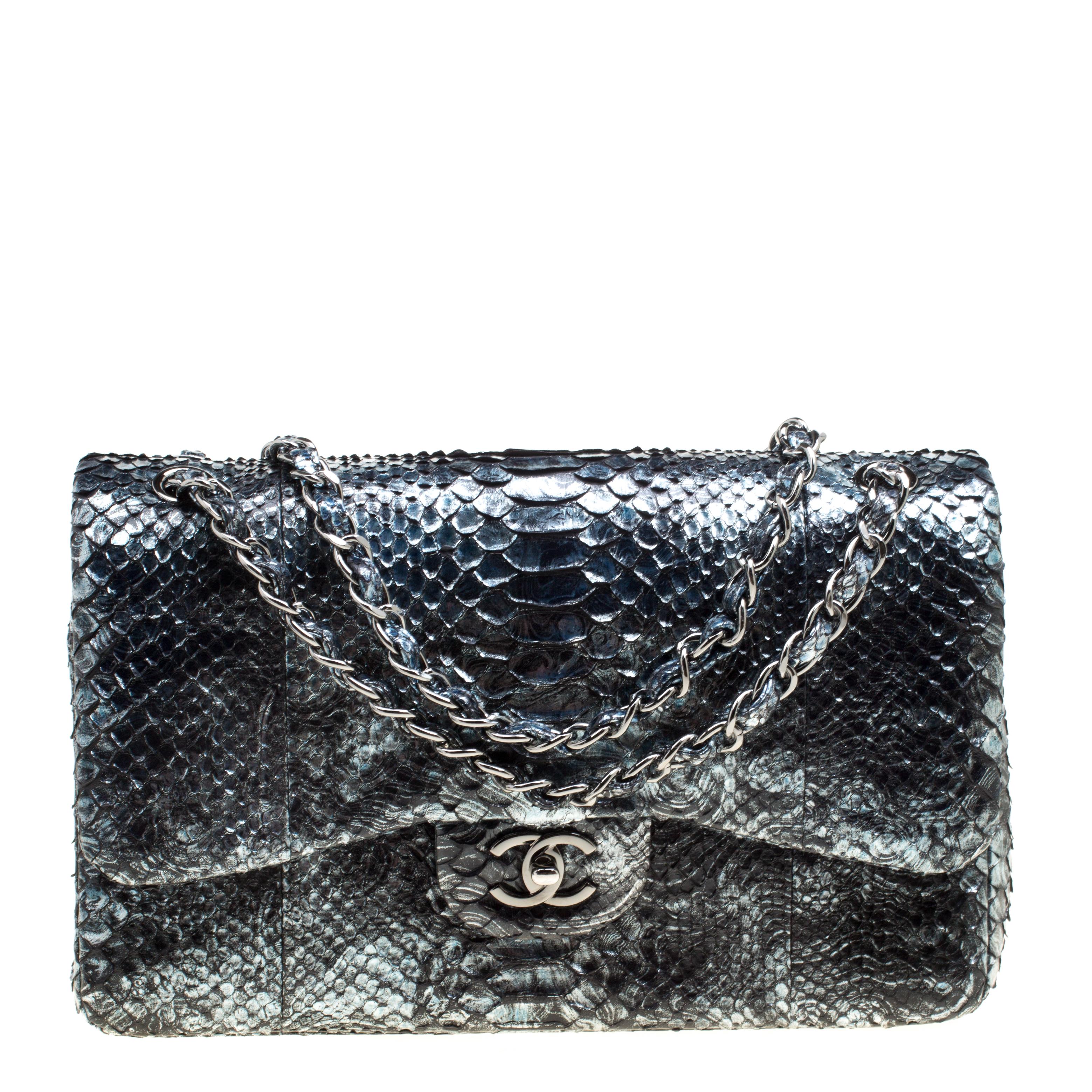 ... Chanel Aquamarine Black Python Jumbo Classic Double Flap Bag. nextprev.  prevnext 781f1bc20b64b