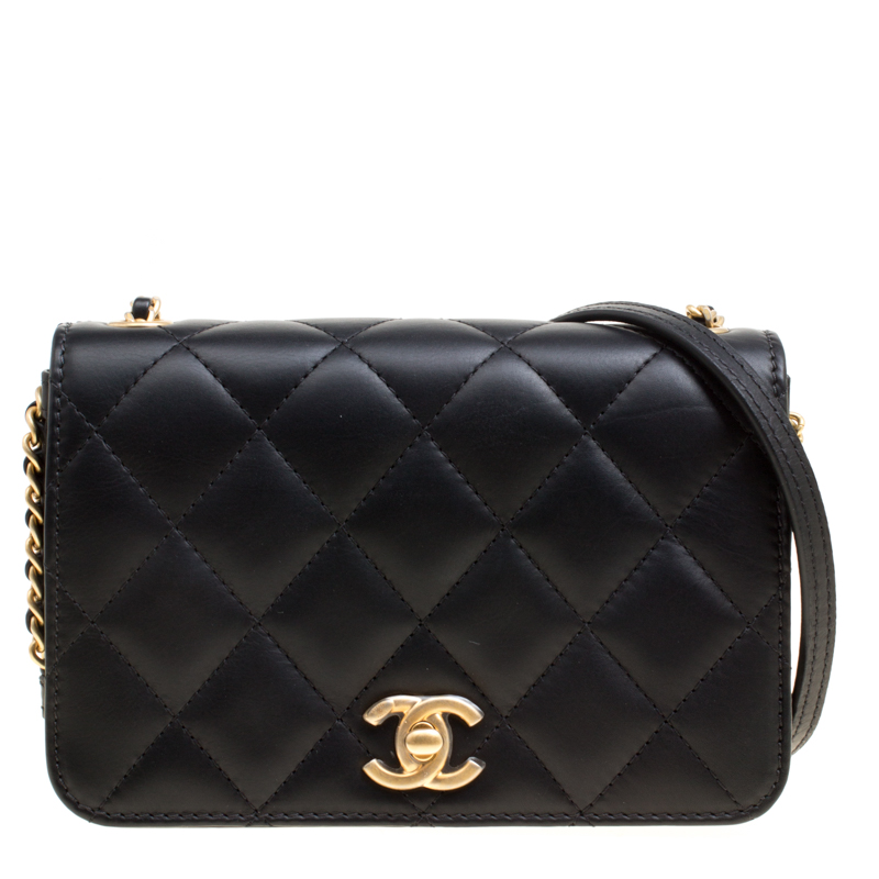 9eee701ee545 Chanel Black Quilted Leather Cc Flap Crossbody Bag 167185 At