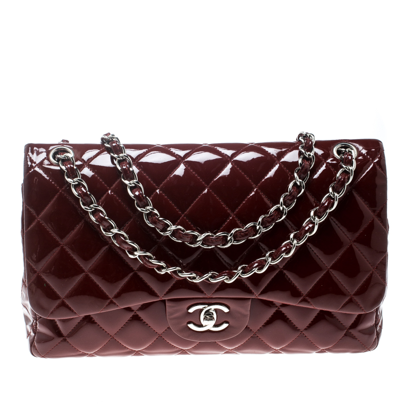 9f32d556e89 ... Chanel Maroon Quilted Patent Leather Jumbo Classic Double Flap Bag.  nextprev. prevnext