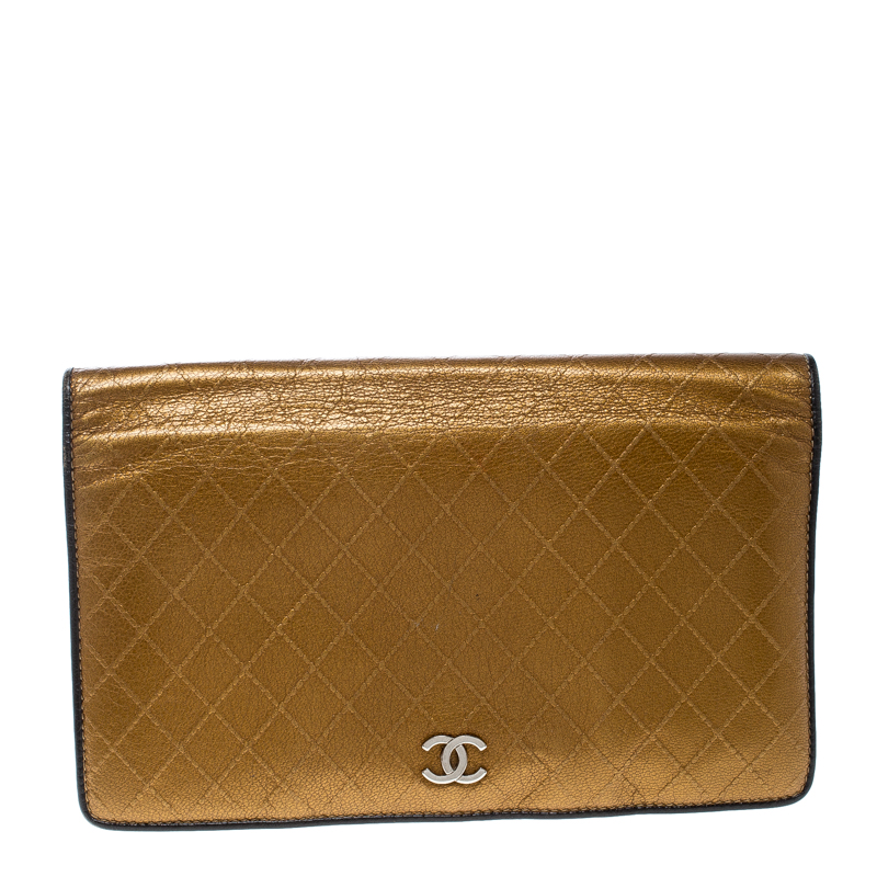 0de2f0ce2ce8 Buy Chanel Metallic Gold Quilted Leather Flap Wallet 167889 at best ...