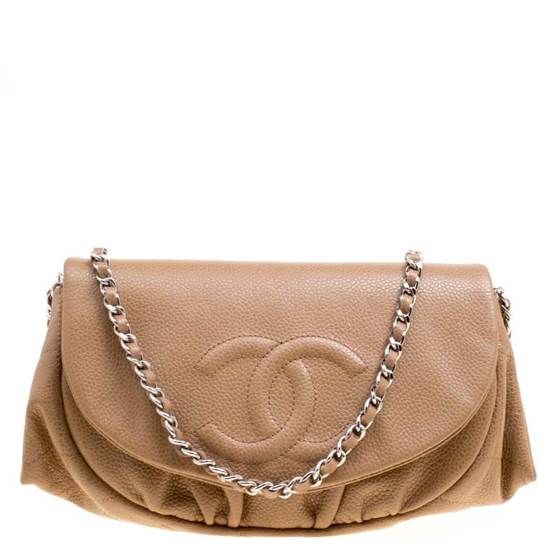 f9b734eafb77 ... Chanel Light Brown Quilted Caviar Leather Half Moon Wallet On Chain.  nextprev. prevnext