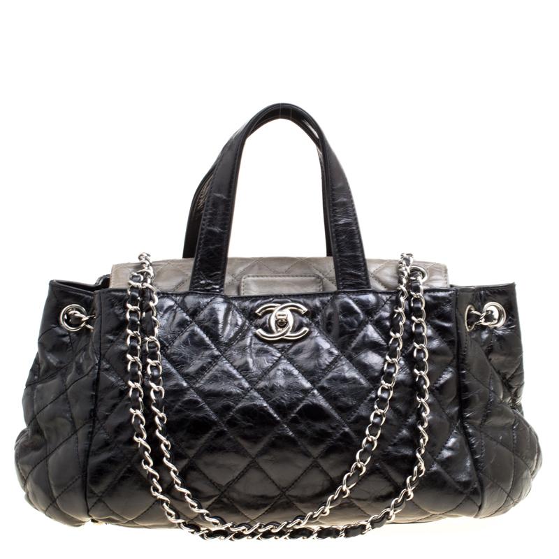 e0f51fd3b65c Buy Chanel Black Quilted Glazed Leather Portobello Top Handle Bag ...
