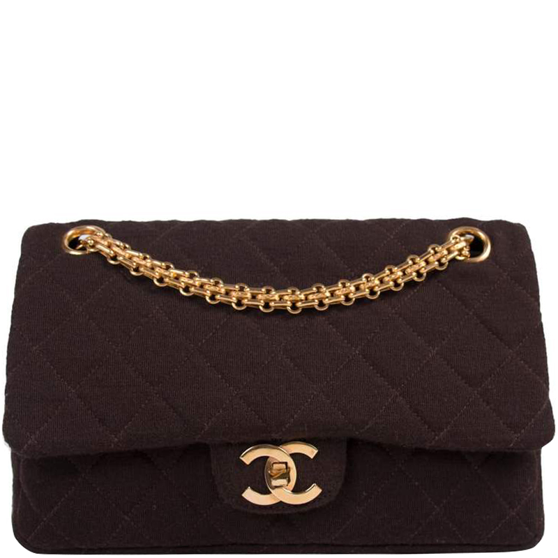 6746278f3d11 ... Chanel Brown Quilted Jersey Fabric Small Vintage Classic Double Flap Bag.  nextprev. prevnext