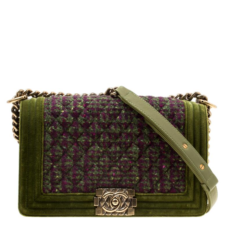 e902af3398e4 Buy Chanel Olive Green Quilted Tweed and Velvet Medium Boy Flap Bag ...