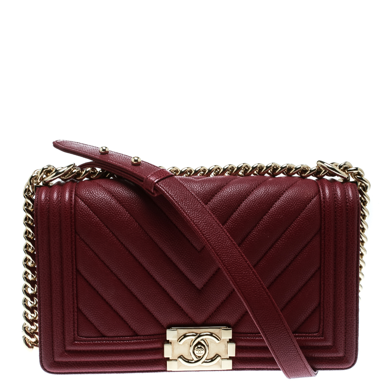 40ab3220507d Buy Chanel Burgundy Chevron Quilted Leather Medium Boy Flap Bag ...
