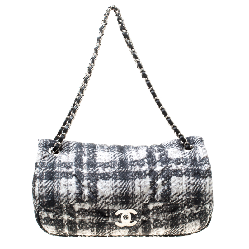 Chanel Black White Vertical Quilted Tweed Print Soft S Flap Bag