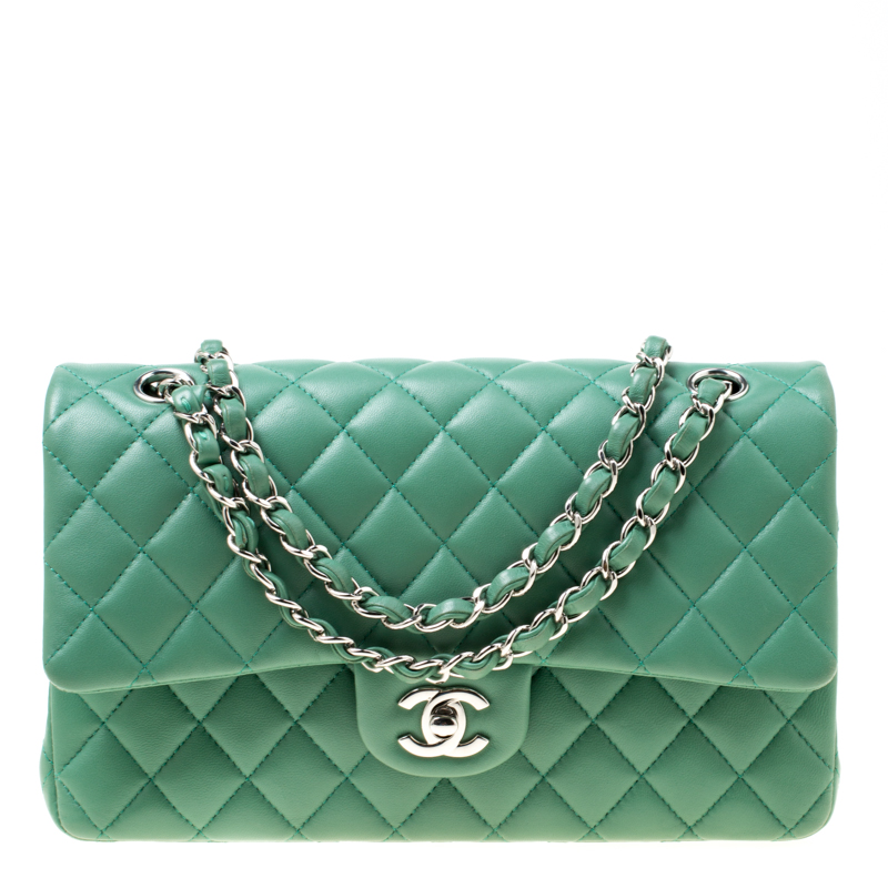 Buy Chanel Green Quilted Leather Medium Classic Double Flap Bag ... 6353e55162