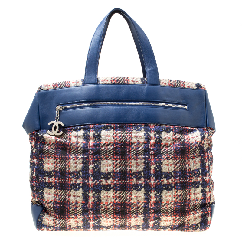 8b43cf57afc0bd Buy Chanel Blue/Multicolor Leather and Tweed Print Nylon Tote 175460 ...