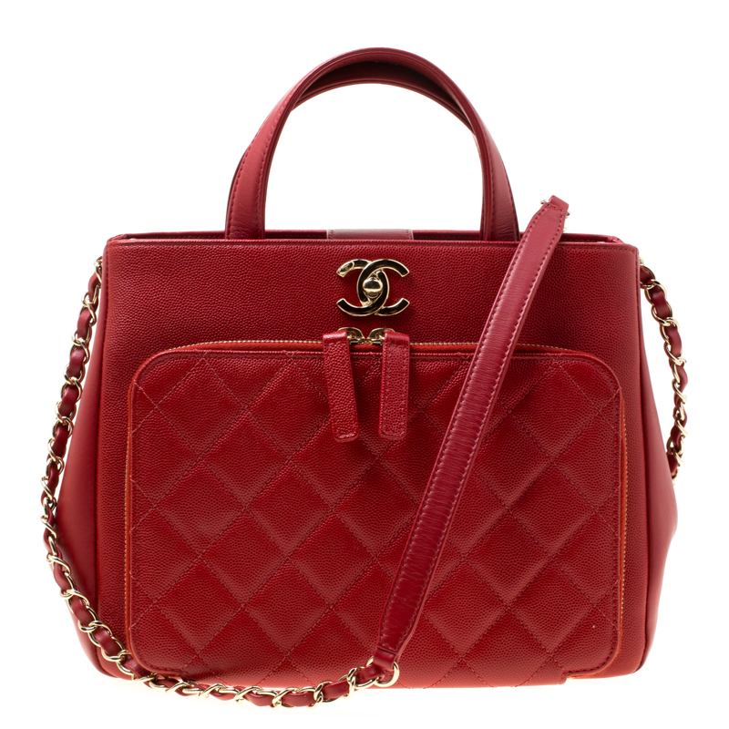 Chanel Red Quilted Leather Small Shopping Bag