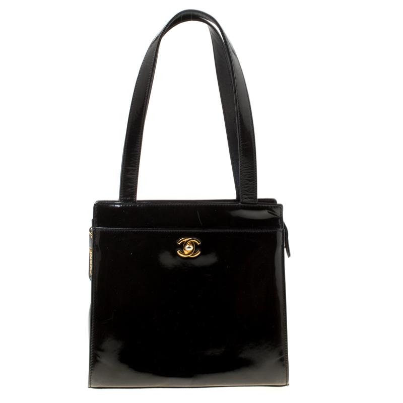 Chanel Black Patent Leather Vintage CC Tote