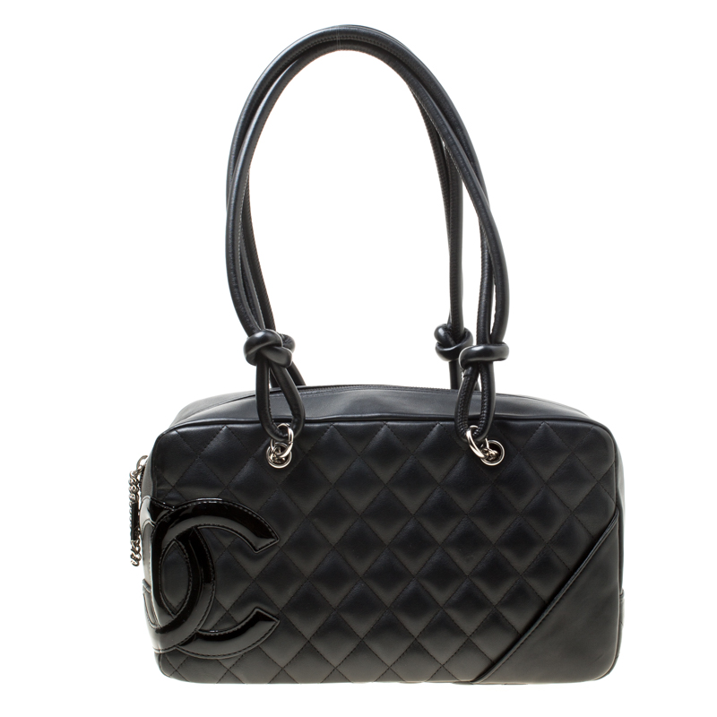 Chanel Black Quilted Leather Cambon Ligne Bowler Bag