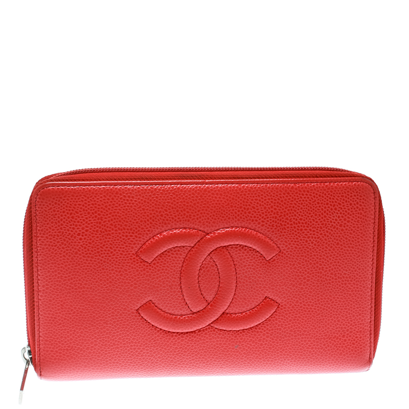 088d75adeebc22 ... Chanel Coral Red Caviar Leather Large CC Zip Around Wallet. nextprev.  prevnext