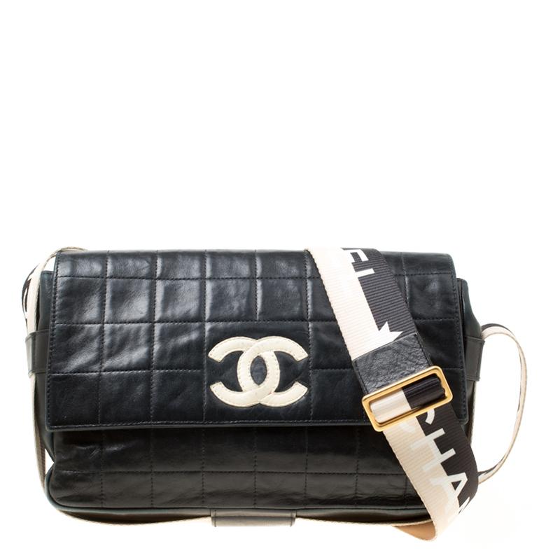0727e272bab7 Buy Chanel Black Choco Bag Leather East West Star Flap Shoulder Bag ...