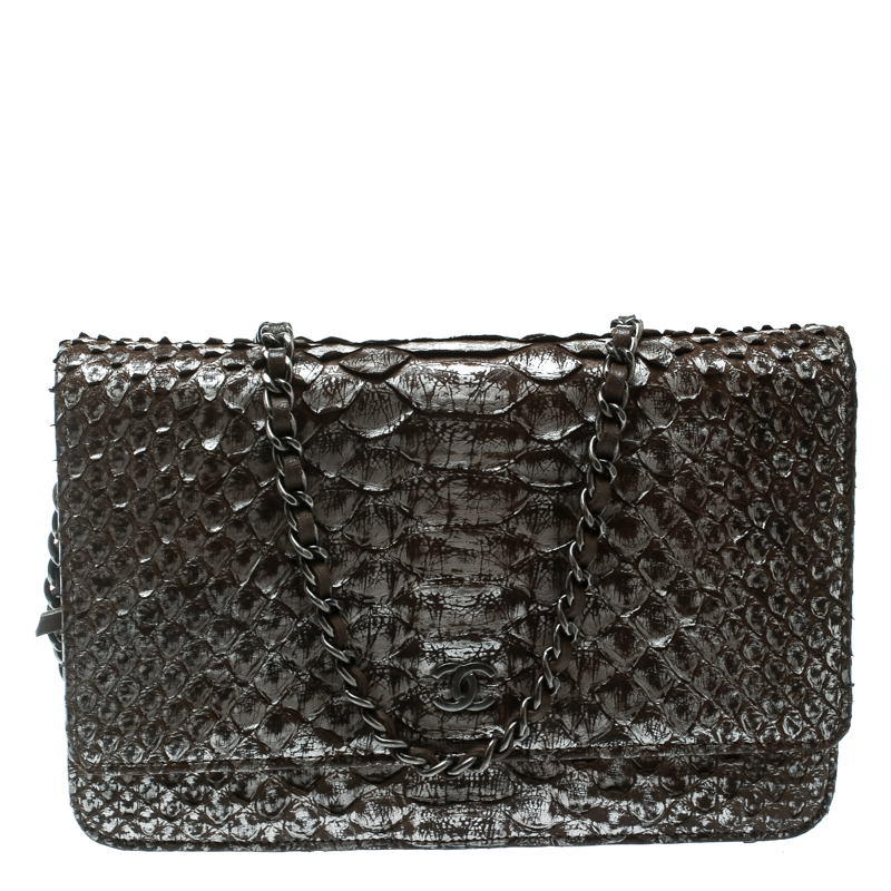 1656008fe7e5 Buy Chanel Brown/Grey Python CC Wallet on Chain 177899 at best price ...