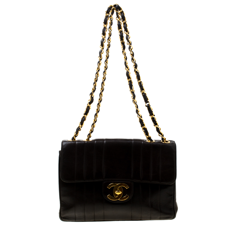 6909d7dbad2b ... Chanel Black Vertical Quilted Leather Jumbo Vintage Classic Single Flap  Bag. nextprev. prevnext