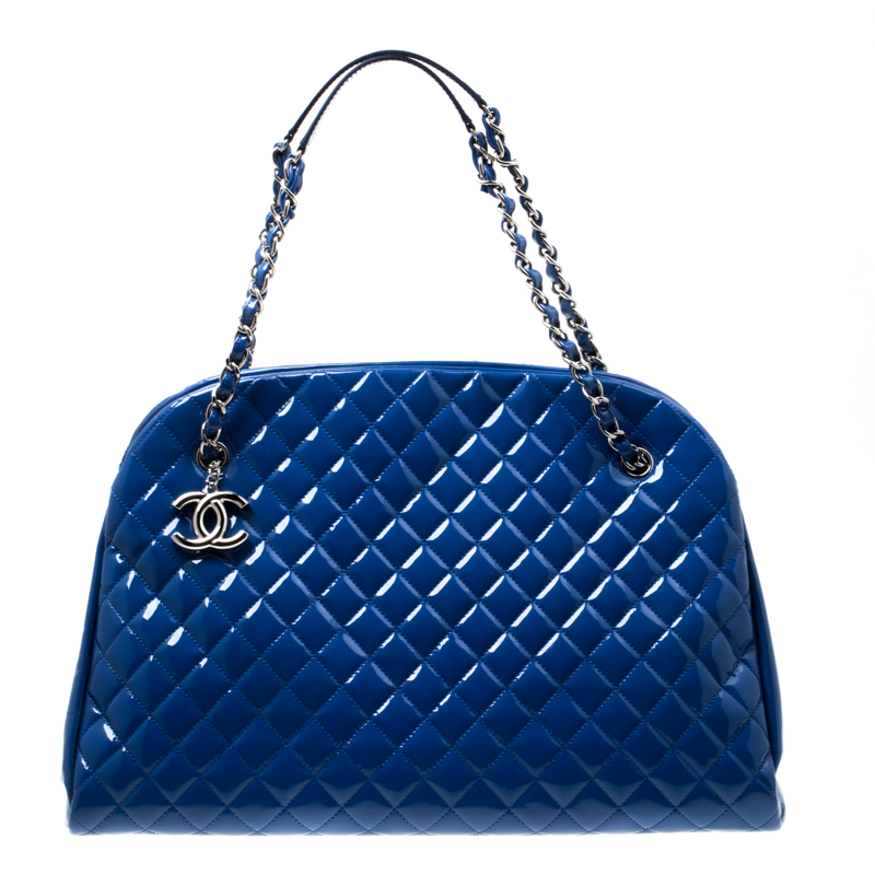 40cb05c8e0b8d9 ... Chanel Blue Quilted Patent Leather Large Just Mademoiselle Bowling Bag.  nextprev. prevnext