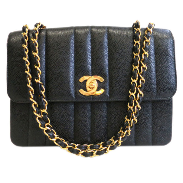 6edf4455c8cc Buy Chanel Black Caviar Vertical Quilt Mademoiselle Flap Bag 1786 at ...