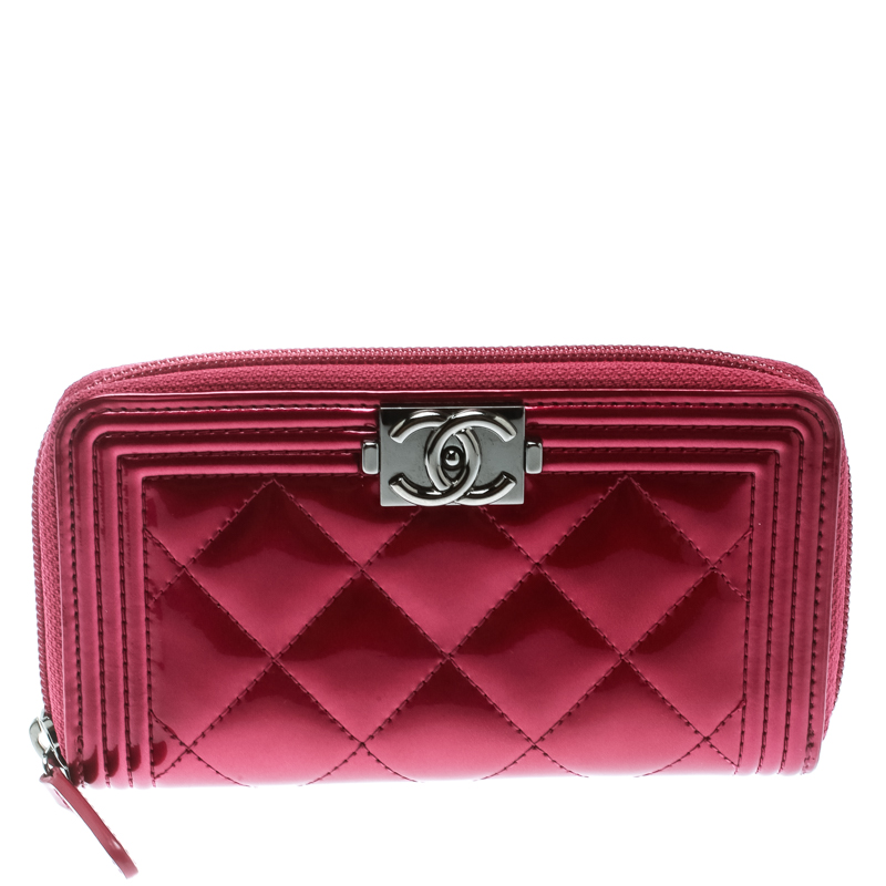 f8ad167fdc01 ... Chanel Pink Patent Leather Boy Zip Around Wallet. nextprev. prevnext