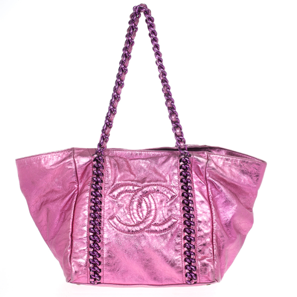 0c69e59fe4e1 Buy Chanel Metallic Pink Cracked Calfskin Leather Modern Chain Large Tote  Bag 17978 at best price | TLC