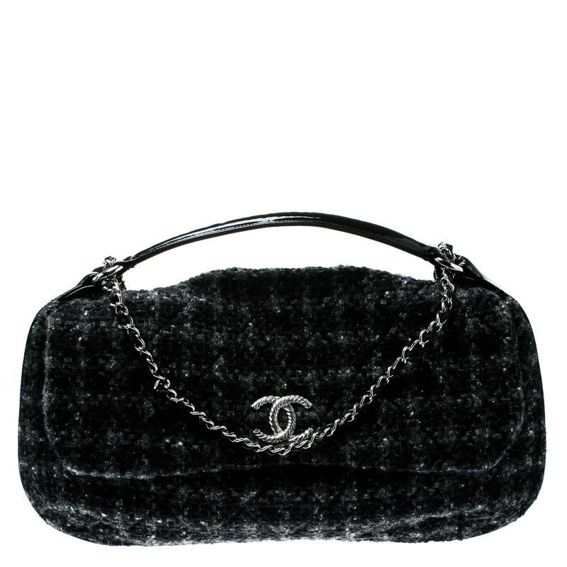 2559bed9df44 ... Chanel Grey Tweed and Patent Leather CC Shoulder Bag. nextprev. prevnext