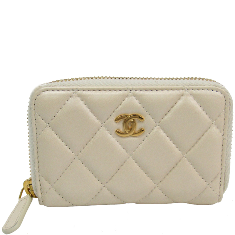 a5754543fb7d5d Chanel White Quilted Lambskin Zip Around Coin Purse 181038 At