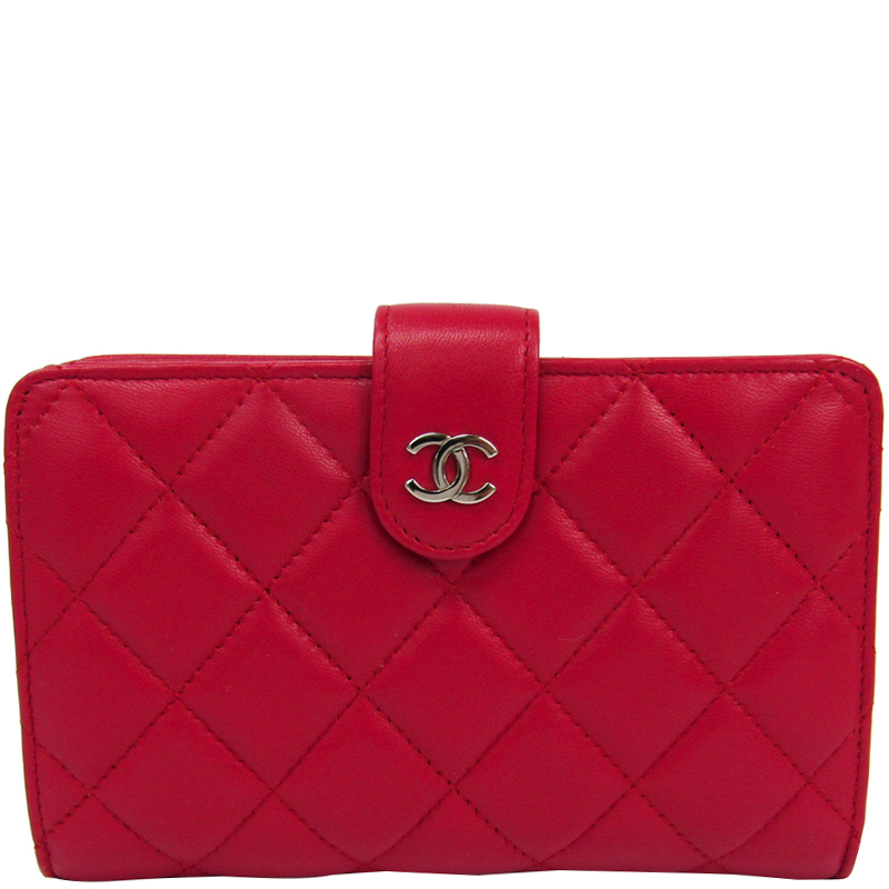 2ae04901f100 Buy Chanel Rose Red Quilted Lambskin French Purse Wallet 181039 at ...