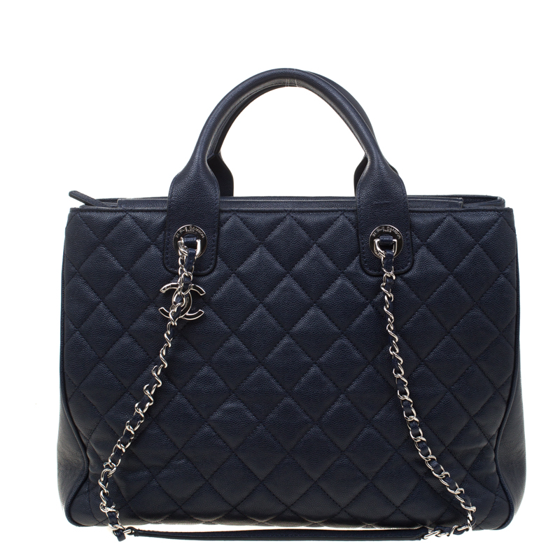 4a6ce0be29d8 Buy Chanel Navy Blue Quilted Caviar Leather Top Handle Bag 181275 at ...