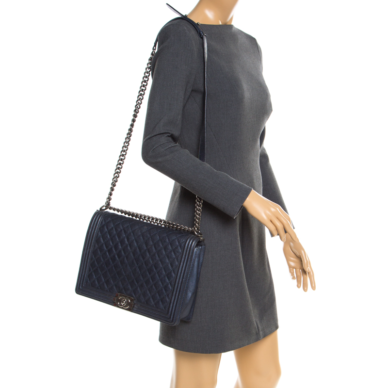 Chanel Navy Blue Quilted Leather Large