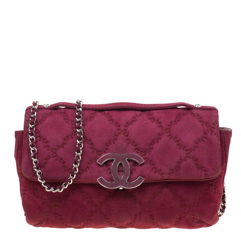 Chanel Burgundy Nubuck Leather Ultra Stitch Shoulder Bag