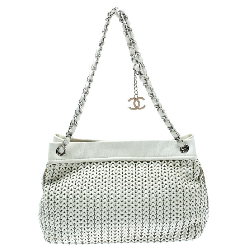 Chanel White Woven Leather CC Charm Tote